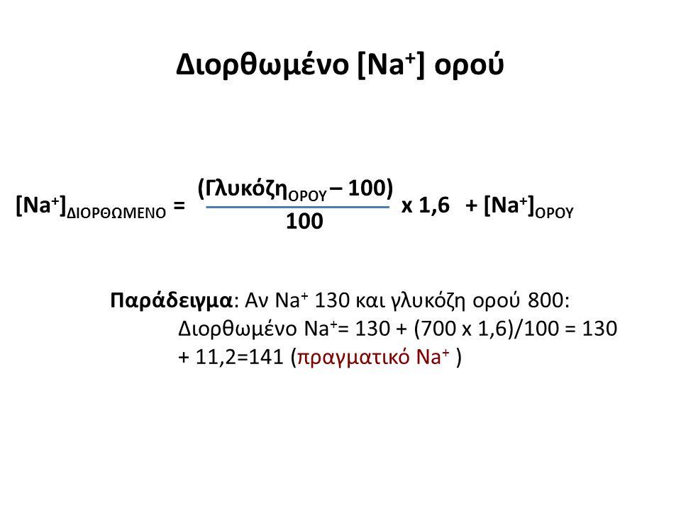 Διορθωμένο [Na+] ορού (ΓλυκόζηΟΡΟΥ – 100) + [Na+]ΟΡΟΥ
